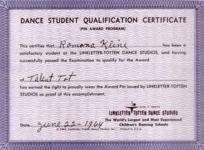 Art Linkletter Dance Certificate