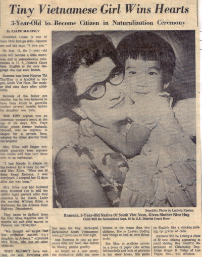Hugging Mom in newspaper
