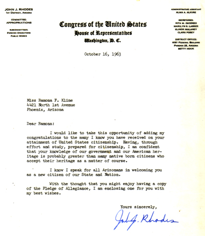 Letter from Congressman John Rhodes